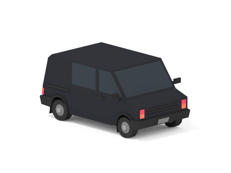 Suspicious Van 3dcember 3december van minimalist blender low poly illustration 3d lowpoly