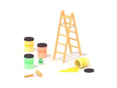 Fresh Paint minimalist blender low poly illustration 3d lowpoly