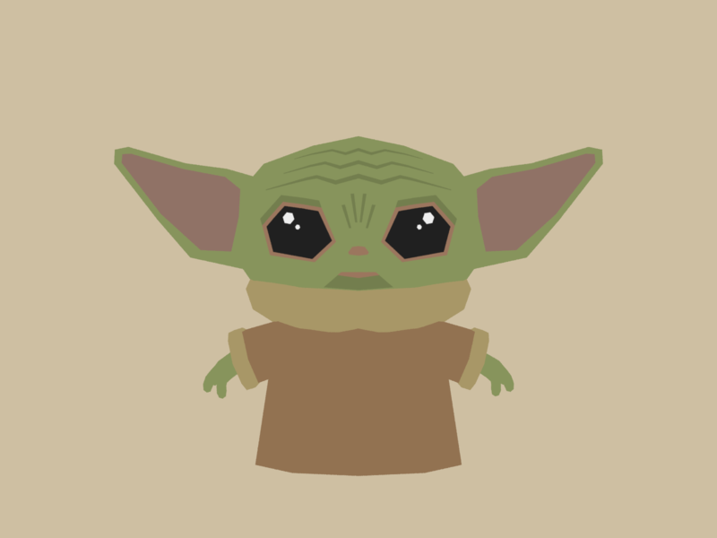 Baby Yoda star wars starwars yoda baby yoda minimalist blender low poly illustration 3d lowpoly