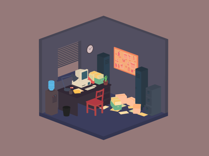 Office computer office minimalist blender low poly illustration 3d lowpoly