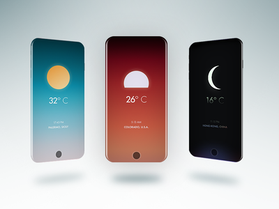 Wett - weather app concept for iPhone X weather forecast night cloudy sunny weather app ios app ux ui ai gradient forecast temperature location ui ux ios iphone x app weather