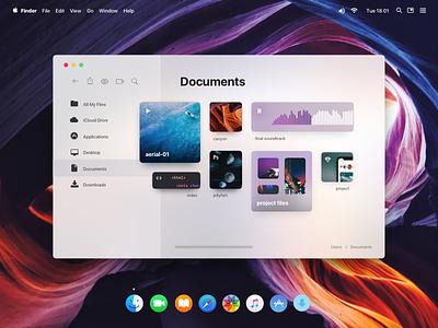 macOS Redesign Concept - Finder imac macbook macintosh dock desktop gui operating system mac os ios os folder redesign interface ui finder os x mac os x macos mac apple