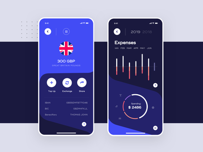 Vaulted, mobile banking app - Account & Expenses Screens product design mobile money bank banking pay payments fintech finance wallet crypto cryptocurrency exchange transfer trade trading bitcoin app ux ui