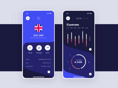 Vaulted, mobile banking app - Account & Expenses Screens