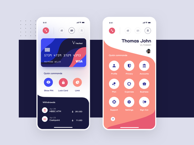 Vaulted, mobile banking app - Card & Profile Screens ui ux app bitcoin trading trade transfer exchange cryptocurrency crypto wallet finance fintech payments pay banking bank money mobile product design