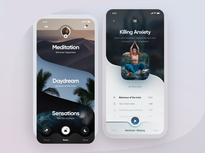 Meditation App mindful lifestyle relief stress chilling chill calming app relaxing app relaxation ui ux app meditation app calming calm yoga relaxing relax meditate meditation