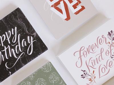 Greeting Cards print design greeting cards design handlettering illustration lettering typography