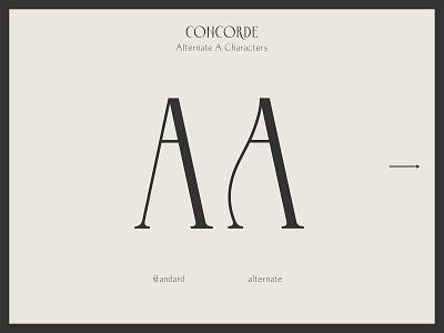 Concorde - Alternate A Characters vintage letterforms font prototype serif font display serif serif uppercase majuscule alternate paris concorde font design font