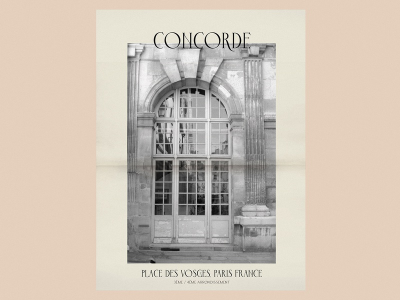 Concorde Regular - Poster Promo grain poster design 35mm film photography film marais place des vosges parisian typography paris font design font vector design handlettering lettering typography