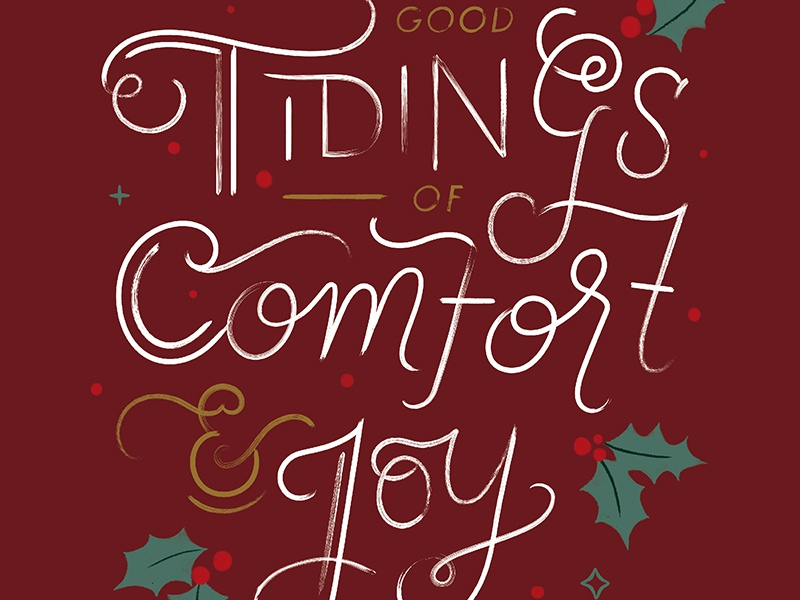 Tidings of Comfort & Joy Christmas Card Design by Laura Bennett ...