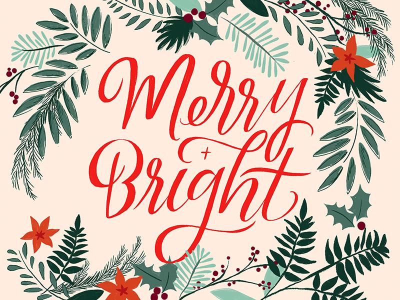 Merry + Bright Christmas Card + Print Design by Laura Bennett ...