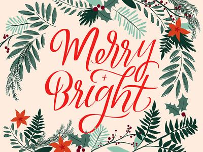 Merry + Bright Christmas Card + Print Design
