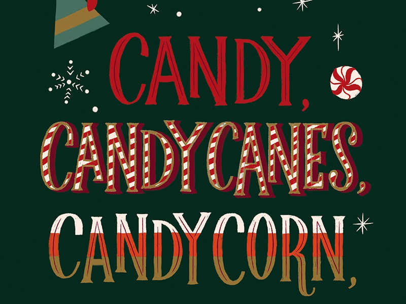 Candy Candy Canes Elf Quote Christmas Card Design By Laura