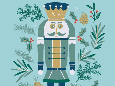 Nutcracker Christmas Card card christmas illustration pine holiday cards greeting card holiday card christmas card holly and ivy pinecone nutcracker design christmas greenery illustration