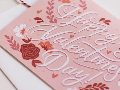 Happy Valentine's Day Card floral love heart greeting card happy valentines day valentines holiday design illustration lettering typography
