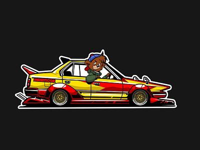 Tale Spin Bosozoku ride japan racing sticker illustrator illustraion car