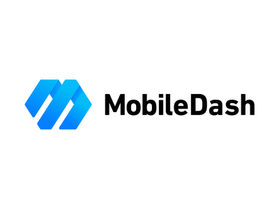 MobileDash Logo Concept branding technology software motion blue graphic design logo design m speed arrow gradient logo