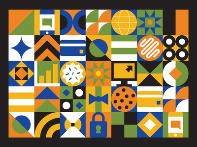 Cybersource Geometric Pattern design stripe circle square icon illustration colorful flat vector finance credit card phone computer cookie pattern geometric