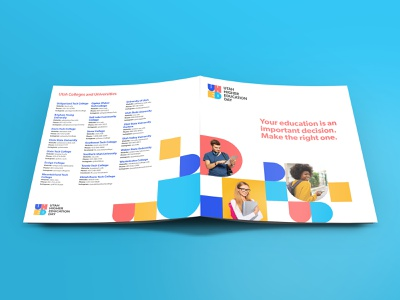 Utah Higher Education Day Logo and Brochure shape colorful branding logo student education utah geometric college school brochure