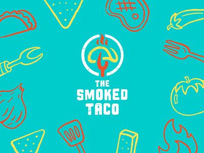 The Smoked Taco Brand Concept spatula tomato restaurant nacho fork brand branding logo food fire barbeque taco smoked
