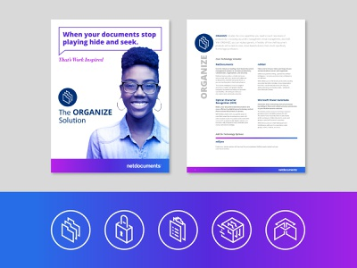 NetDocuments Brochure and Icons document organize 3d line icon people editorial brochure gradient business branding technology