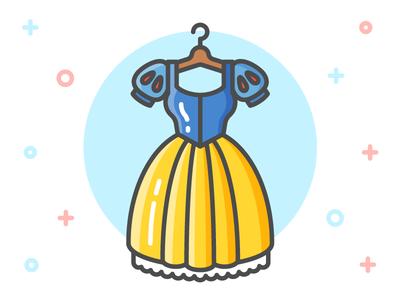 Princess Dress Icon Series: Snow White clothing clothes flat line icon illustration fairy tale dress dwarves snow white princess disney