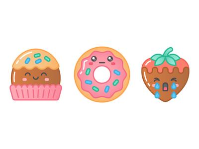 Sweet Shop: Choclate Truffle, Donut, Strawberry dessert strawberry chocolate donut cute illustration icon sticker iphone ios imessage
