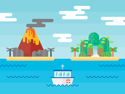 SUSE Ad Illustration palm tree colorful flat vector illustration sky ocean beach volcano paradise island boat