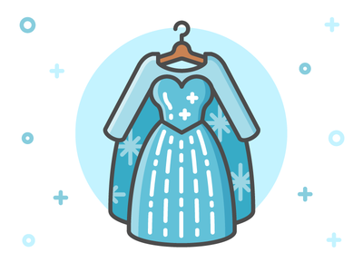 Princess Dress Icon Series: Elsa clothing line fairy tale illustration flat icon dress clothes frozen elsa disney princess