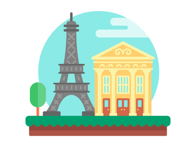 Epcot France flat illustration eiffel tower house icon europe vacation building travel france epcot disney