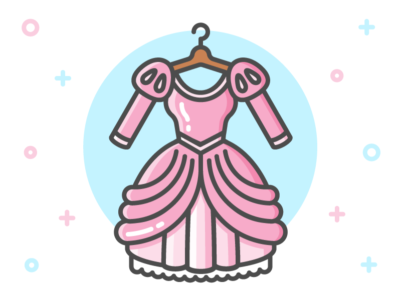 Princess Dress Icon Series: Ariel clothing flat line icon mermaid clothes little mermaid ariel fairy tale dress princess disney