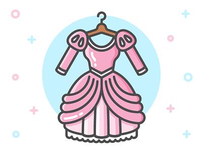 Princess Dress Icon Series: Ariel clothing flat line icon mermaid clothes little mermaid ariel fairy tale dress princess disney