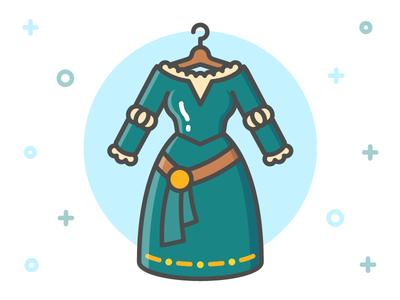 Princess Dress Icon Series: Merida clothing flat line icon pixar clothes brave merida fairy tale dress princess disney