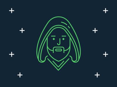 Star Wars Icons: Jedi flat darth vader movie han solo icon disney space line obi wan kenobi luke skywalker jedi star wars