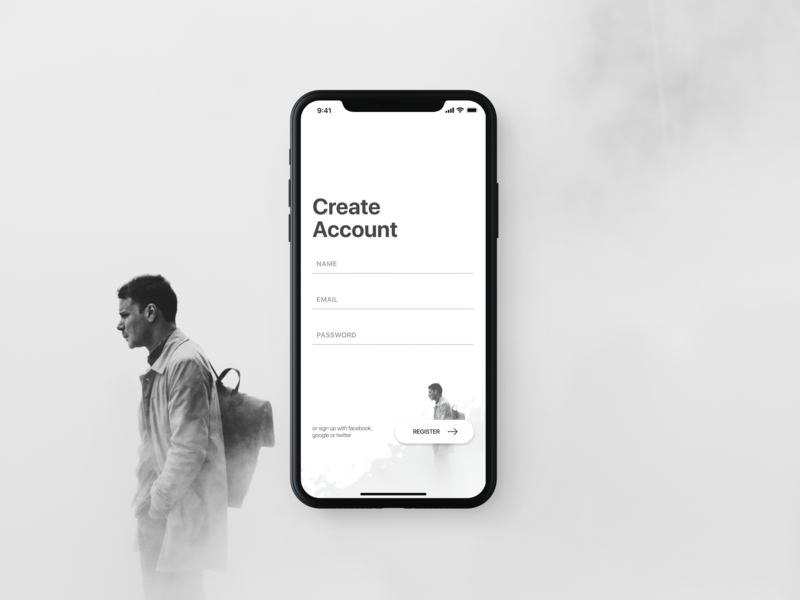 001 Daily UI - Sign-Up (Debut) iphone x unsplash create account sign up design ui