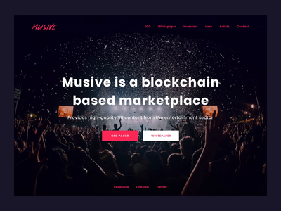 Musive - blockchain based marketplace landing page entertainment motion web ui vr ico marketplace blockchain animation after affects music app