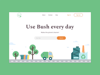 Bush - Landing page minimal illustration typography colors ux environment design environmental protection landing page website landing design after affects animation ui