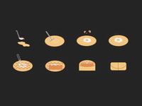 Icon set for Jingbing street food