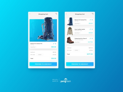 Daily UI Challenge 058 - Shopping Cart shopping cart backpacking responsive mobile cart user interface challenge design ui daily