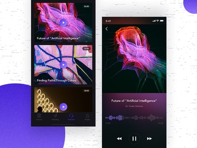 Podcast Player player podcasts news feeds articles app ui tags gradient video iphone x ios
