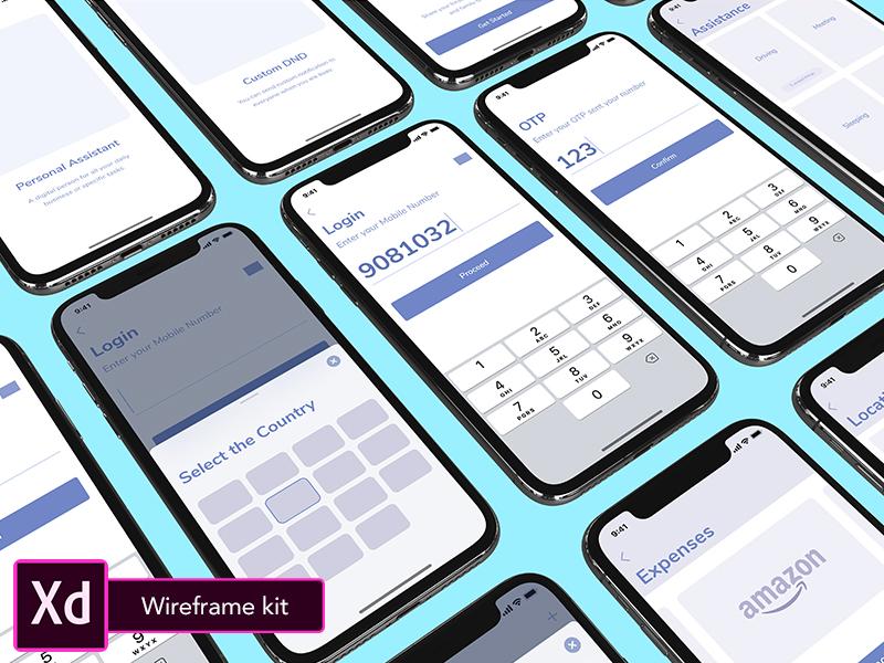 Digital Assistant ios wireframe adobe freebie ui kit adobe xd iphonex assistant wireframes
