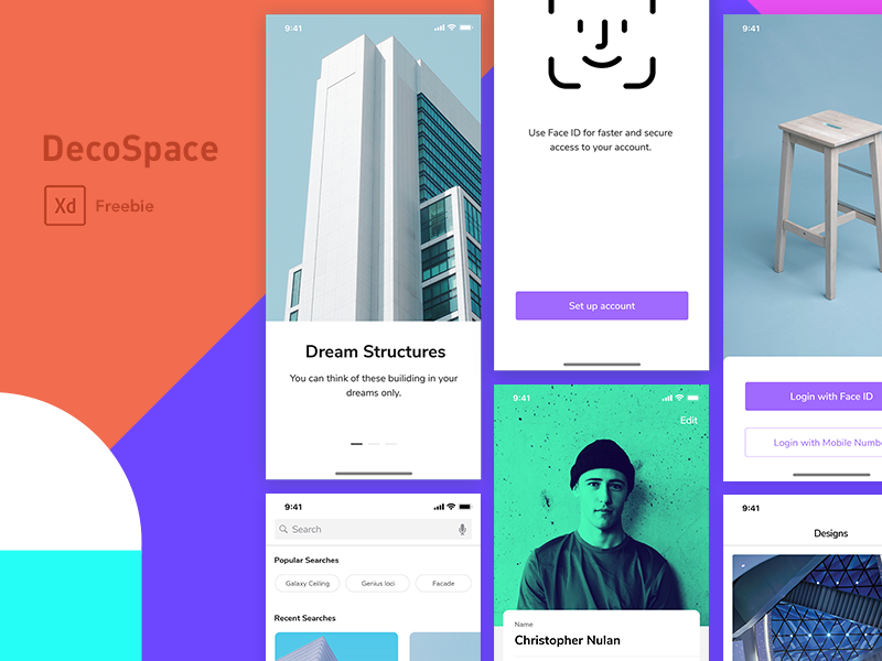 DecoSpace UI Kit ios11 ios iphonex adobe xd ui kit freebie xd