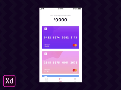 Adobe XD : Auto-Animate payment cards graph design video iphone xd gradient adobe xd ios ui