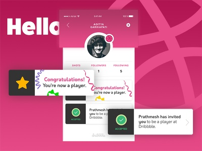 Hello folks! user experience user interface uiux ux ui invite hello first shot dribbble debut
