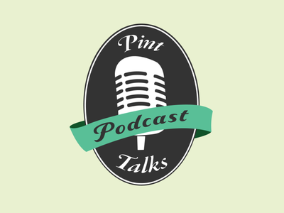 Pint Talks Podcast Logo design microphone beer pint podcast branding illustration logo