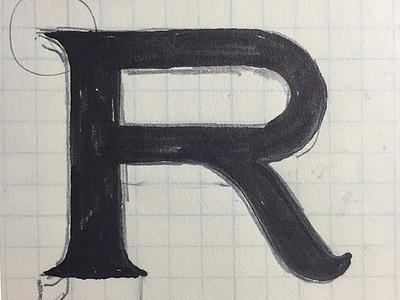 Cap R sketch - pencil/ink on paper