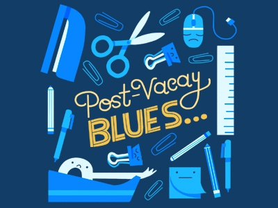 Post-Vacay Blues hand lettering hallmark illustration