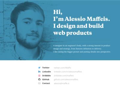 Maffe.is profile blue engineer designer resume blog website personal maffeis alessio