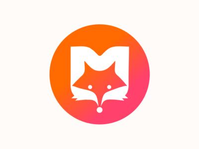 M-FOX orange fox m glyphs illustration logo