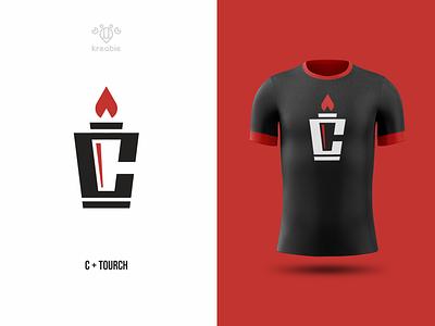 c tourch design line modern minimalist monogram logo simple fire sport tourch
